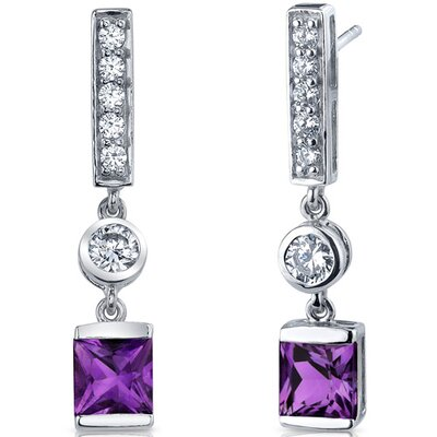 Exotic Sparkle 2.00 Carats Gemstone Princess Cut Dangle Cubic Zirconia Earrings in Sterling Silver