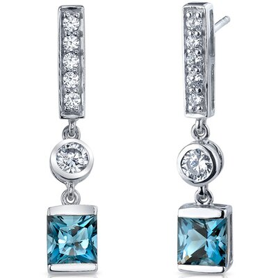 Oravo Exotic Sparkle 2.50 Carats London Blue Topaz Princess Cut Dangle Cubic Zirconia Earrings in Sterling Silver