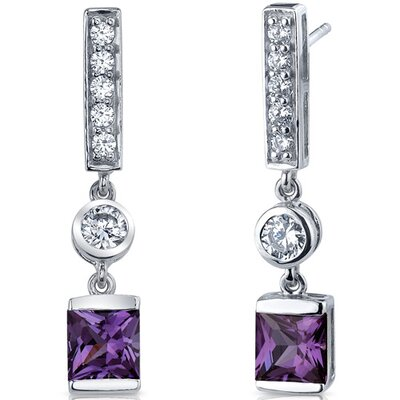 Exotic Sparkle 3.00 Carats Alexandrite Princess Cut Dangle Cubic Zirconia Earrings in Sterling ...