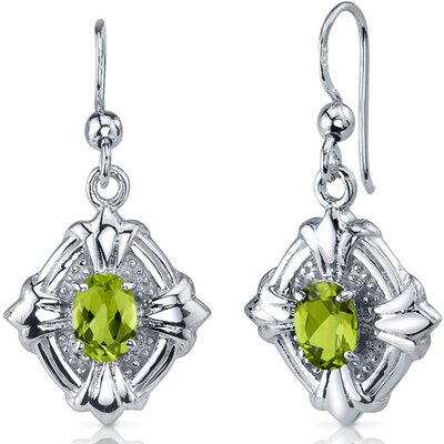 Victorian Design 1.50 Carats Peridot Oval Cut Dangle Cubic Zirconia Earrings in Sterling Silver