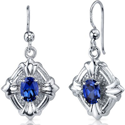 Victorian Design 2.00 Carats Blue Sapphire Oval Cut Dangle Cubic Zirconia Earrings in Sterling ...