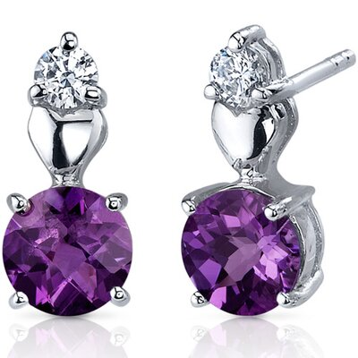 Gleaming Heart 1.50 Carats Amethyst Round Cut Cubic Zirconia Earrings in Sterling Silver