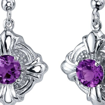 Victorian Style 1.50 Carats Amethyst Round Cut Dangle Cubic Zirconia Earrings in Sterling Silver