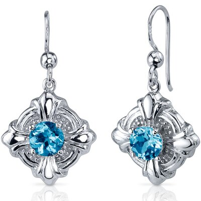 Victorian Style 2.00 Carats Swiss Blue Topaz Round Cut Dangle Cubic Zirconia Earrings in ...