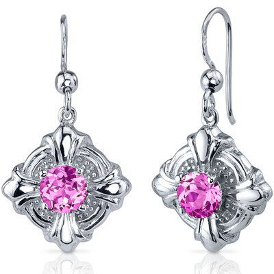 Victorian Style 2.50 Carats Pink Sapphire Round Cut Dangle Cubic Zirconia Earrings in Sterling ...