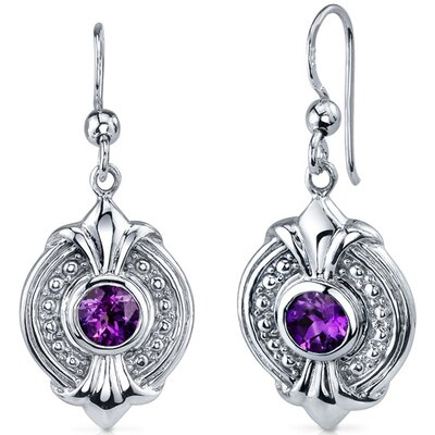 Oravo Ornate 1.00 Carat Amethyst Round Cut Dangle Earrings in Sterling Silver