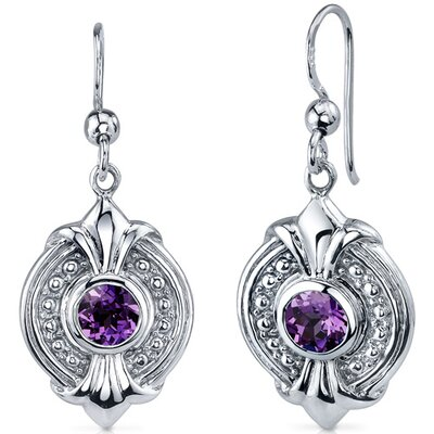 Ornate 1.50 Carats Alexandrite Round Cut Dangle Earrings in Sterling Silver
