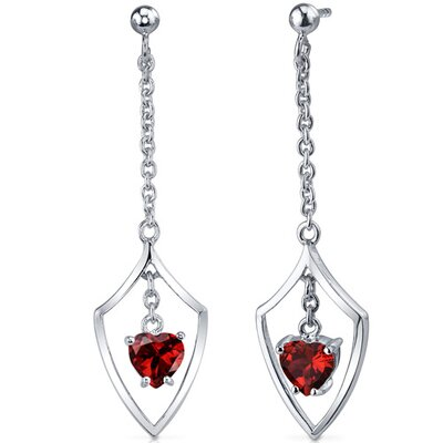 Dynamic Love 2.00 Carats Garnet Heart Shape Dangle Earrings in Sterling Silver