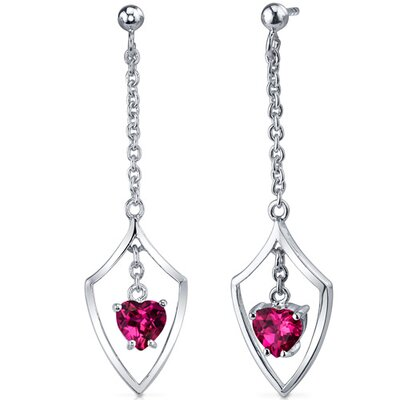 Dynamic Love 2.00 Carats Ruby Heart Shape Dangle Earrings in Sterling Silver