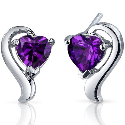 Cupids Harmony 1.50 Carats Gemstone Heart Shape Earrings in Sterling Silver
