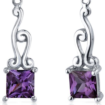 Oravo Lucid Spiral Design 3.00 Carats Alexandrite Princess Cut Dangle Earrings in Sterling Silver