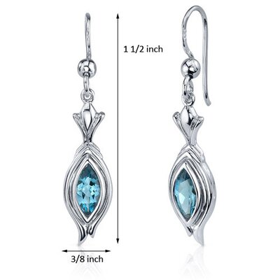 Oravo Dynamic Dangle 1.00 Carat London Blue Topaz Marquise Cut Earrings in Sterling Silver