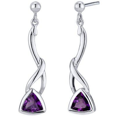 Mystical Modern Wave 1.50 Carats Gemstone Trillion Cut Dangle Earrings in Sterling Silver
