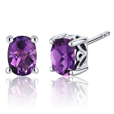 Basket Style 1.50 Carats Gemstone Oval Cut Stud Earrings in Sterling Silver