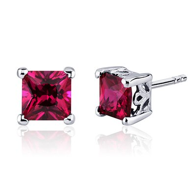 3.00 Carats Ruby Princess Cut Scroll Design Stud Earrings in Sterling Silver