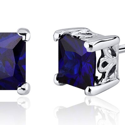 Oravo 2.50 Carats Blue Sapphire Princess Cut Scroll Design Stud Earrings in Sterling Silver