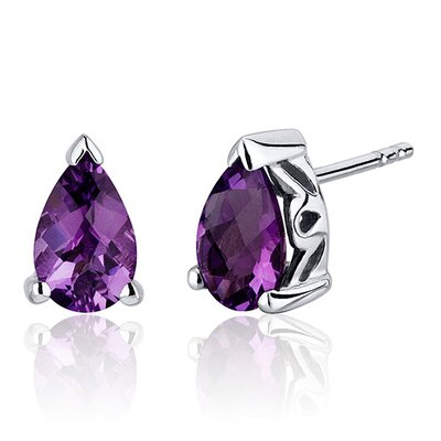 Oravo 1.50 Carats Gemstone Pear Shape Basket Style Stud Earrings in Sterling Silver