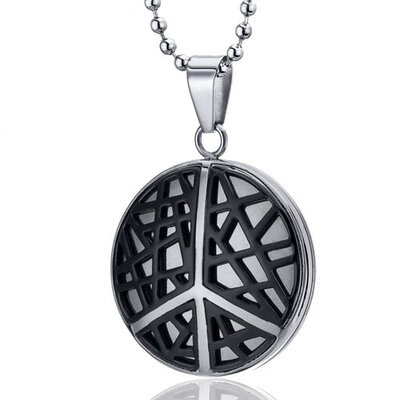 Modern Art Crisscross Stainless Steel Peace Sign Circle Pendant