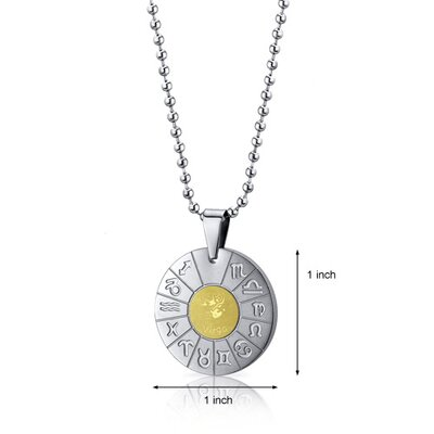 Oravo Virgo Virgin Lady Sign Zodiac Symbol Stainless Steel Circle Pendant Necklace