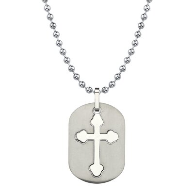 Oravo Fashionable Faith Titanium Dog Tag Pendant with Cut-out Medieval Cross on a Stainless Steel Ball Chain
