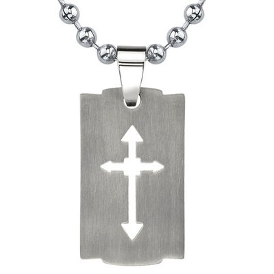 Oravo Strong Faith Titanium Brushed Finish Cut-out Arrow Cross Razor Bladed Design Dog Tag Pendant on a Steel Ball Chain