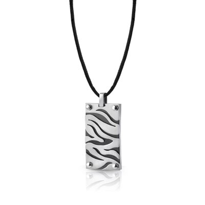 Oravo Stainless Steel Zebra Pattern Pendant on a Black Cord