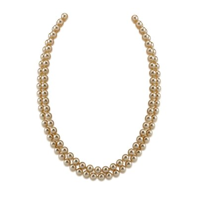 Oravo Double Strand 7 to 9 mm Off White Round Majorca Pearl 19 inch Necklace