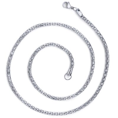 Oravo Contemporary Statement Unisex Stainless Steel Fox Tail Style 22 inch Chain Necklace