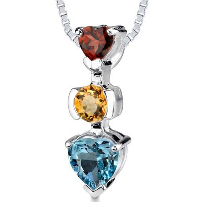 2.50Ct Round Heart Shape Garnet Citrine Topaz Pendant in Sterling Silver