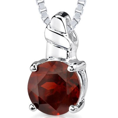2.50ct Round Shape Garnet Pendant in Sterling Silver