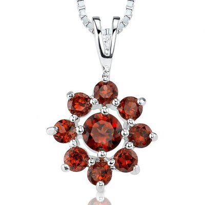 2.00ct Round Cut Garnet Pendant in Sterling Silver