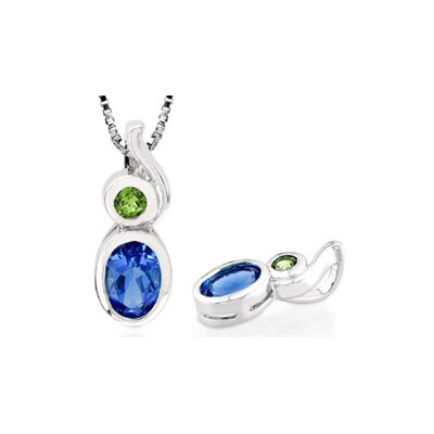 Oval Round Cut London Blue Topaz Peridot Pendant in Sterling Silver