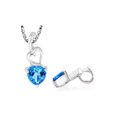 Oravo Heart Cut London Blue Topaz Pendant in Sterling Silver