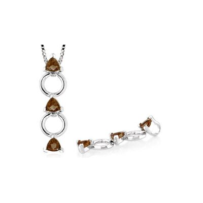 Trillion Cut Smoky Quartz Three Stone Pendant in Sterling Silver