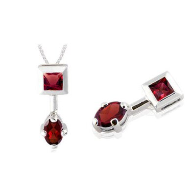Princess Oval Cut Garnet Pendant in Sterling Silver