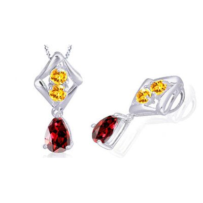 Pear Round Cut Garnet Citrine Three Stone Pendant in Sterling Silver