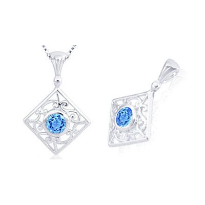 Round Cut Swiss Blue Topaz Filigree Pendant in Sterling Silver