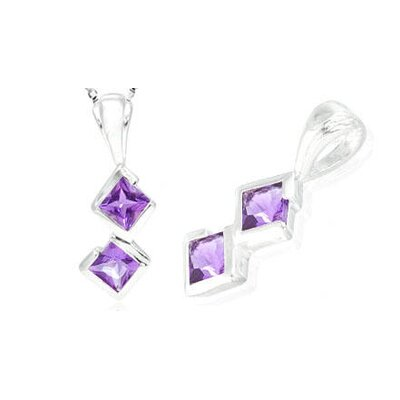Oravo Princess Cut Amethyst Pendant in Sterling Silver