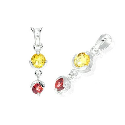 Round Cut Citrine Garnet Pendant in Sterling Silver