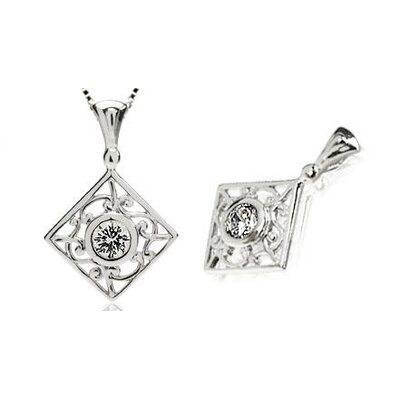 Round Cut White Cz Filigree Pendant in Sterling Silver