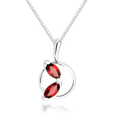 Oravo Marquise Cut Garnet Pendant Necklace in Sterling Silver
