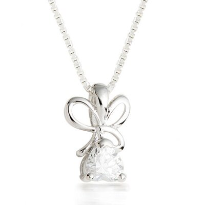 Oravo Heart Cut White CZ Pendant Necklace in Sterling Silver