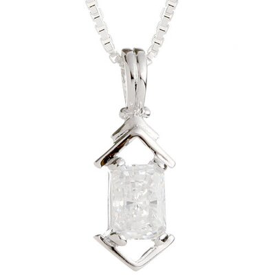 Oravo Radiant Cut White CZ Pendant Necklace in Sterling Silver
