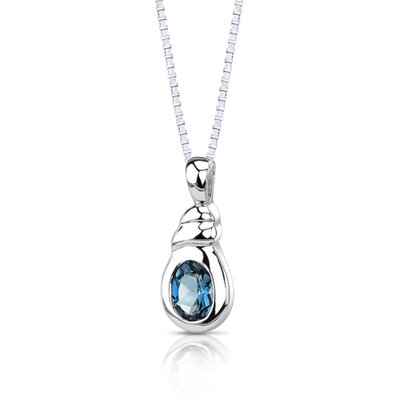 Oravo 1.50 Carats Genuine Oval Shape London Blue Topaz Pendant Necklace in Sterling Silver