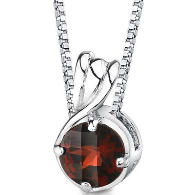 Scintillating Perfection 2.50 Carats Round Shape Garnet Pendant in Sterling Silver