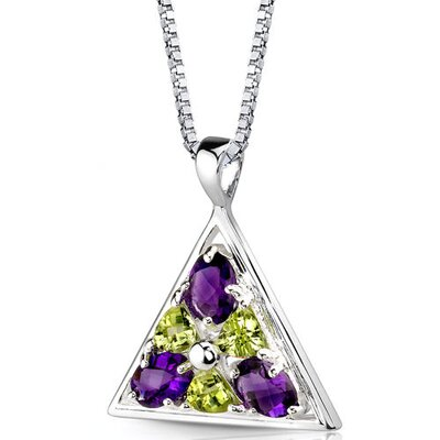 Perfect Destiny 2.00 Carats Multishape Amethyst and Peridot Pendant in Sterling Silver