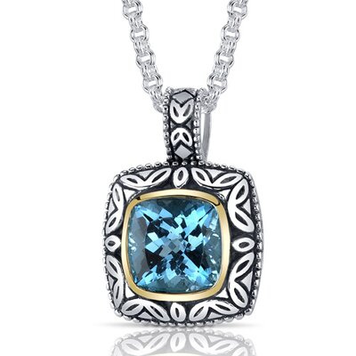 Cushion Cut 5.00 Carats Swiss Blue Topaz Antique Style Pendant in Sterling Silver