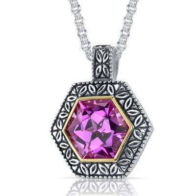 Hexagon Cut 10.00 Carats Pink Sapphire Antique Style Pendant in Sterling Silver