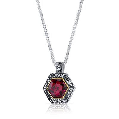 Oravo Hexagon Cut 9.50 Carats Ruby Antique Style Pendant in Sterling Silver