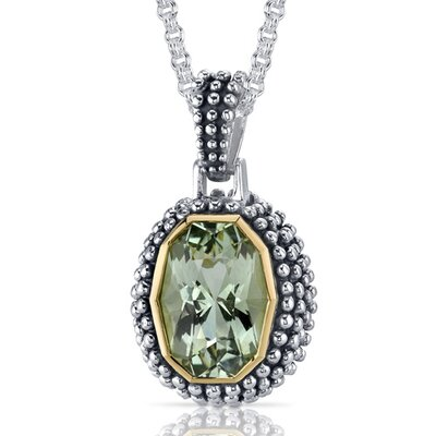 Barrel Cut 5.00 Carats Green Amethyst Antique Style Pendant in Sterling Silver